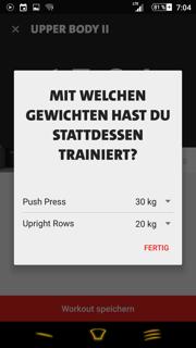 Freeletics Gym Coach Feedback Gewichte