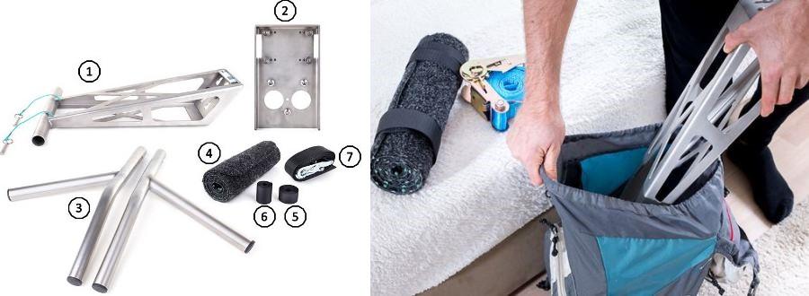outdoor Klimmzugstange Bestandteile + im Rucksack transportierbar