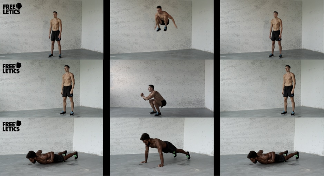 Freeletics Übungen - Burpees, Squats, Lunges, Climbers, Pushups, High Jumps